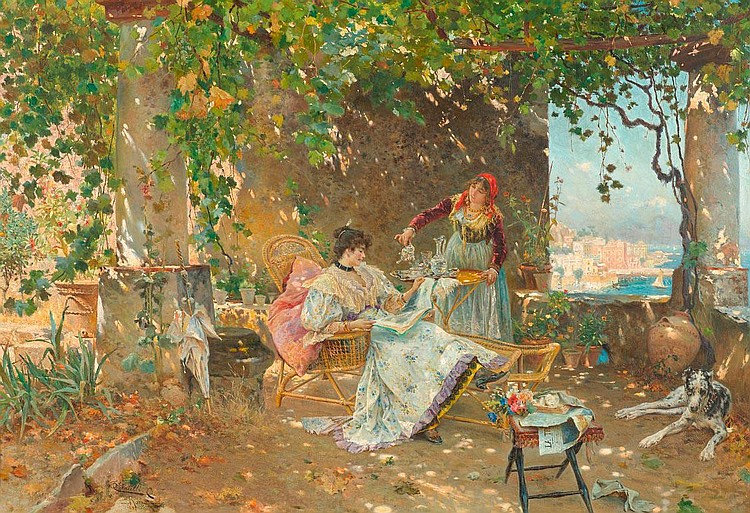 TIRATELLI, CESARE (1864 Rome 1933) Summer in Rome.