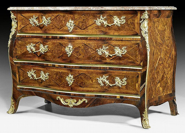 COMMODE, Louis XV, by M. FUNK (Mathaus Funk,