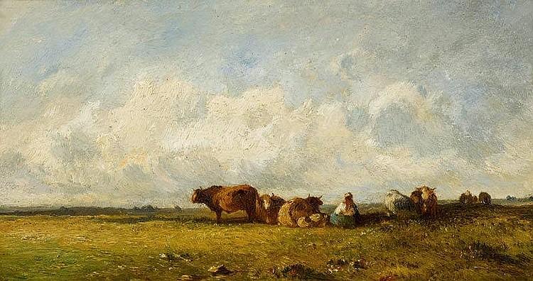 DUPRÉ, VICTOR (Limoges 1816 - 1879 Paris)Cows at