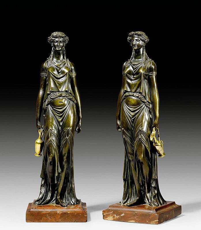 PAIR OF BRONZE FIGURES,Louis XVI style, after a