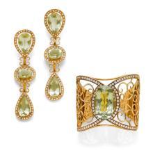PRASIOLITE AND DIAMOND BANGLE WITH EARRINGS.