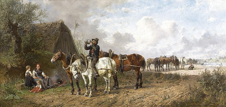 HARTMANN, LUDWIG (1835 Munich 1902) Farm workers