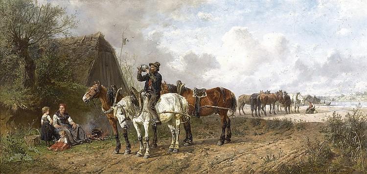 HARTMANN, LUDWIG (1835 Munich 1902) Farm workers