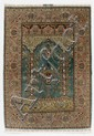 HEREKE SILK PRAYER, old.Green mihrab with white