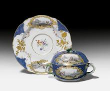 RARE ÉCUELLE WITH LID AND SAUCER,