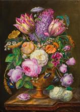 PAIR OF DECORATIVE PORCELAIN PLAQUES WITH A STILL LIFE,