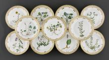 11 SMALL 'FLORA DANICA' PLATES,