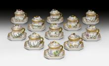 11 'FLORA DANICA' CREAM CUPS WITH LID AND SAUCER,