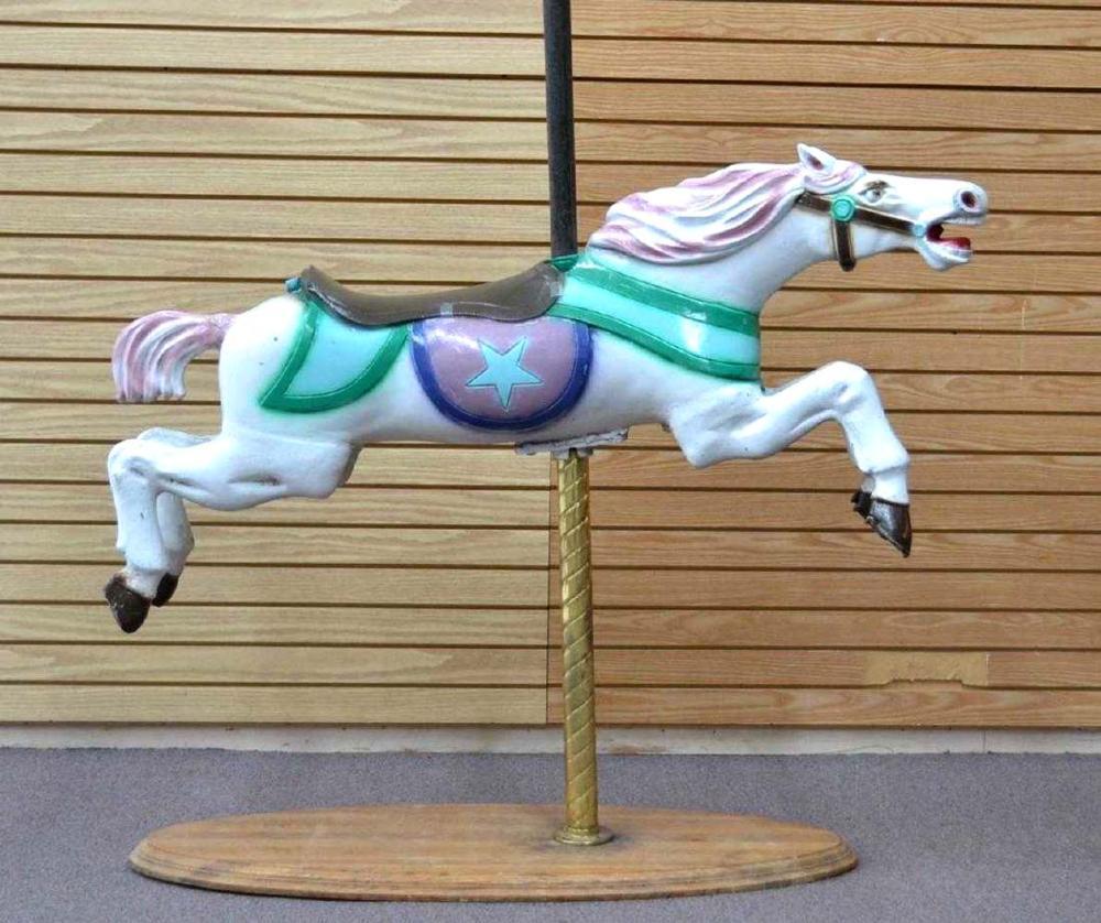 C.W. PARKER , POLYCHROMED METAL CAROUSEL HORSE