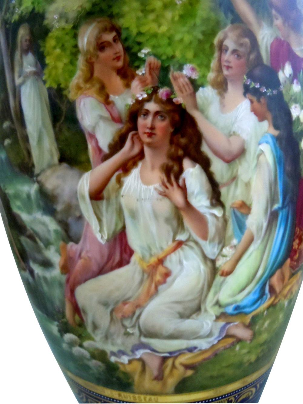 MONUMENTAL ROYAL VIENNA STYLE PORCELAIN VASE YOUNG GIRL Maidens at Le Ruisseau France