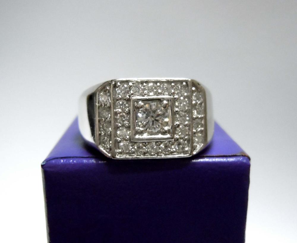 MENS 14K WHITE GOLD 1.07CT DIAMOND PINKY RING $9135 COA