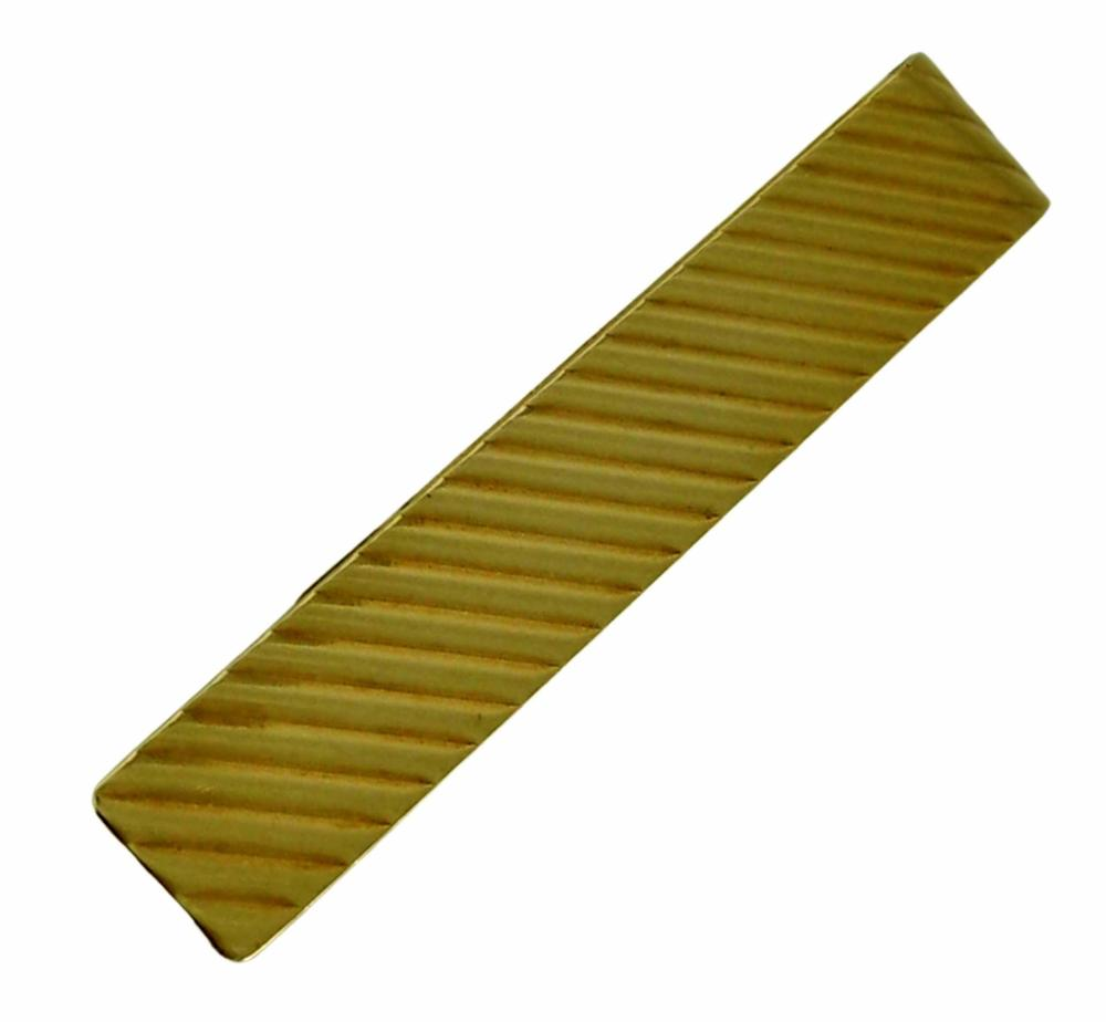 14K YELLOW GOLD STRIPPED TIE BAR OR MONEY CLIP 7.4 Gr.