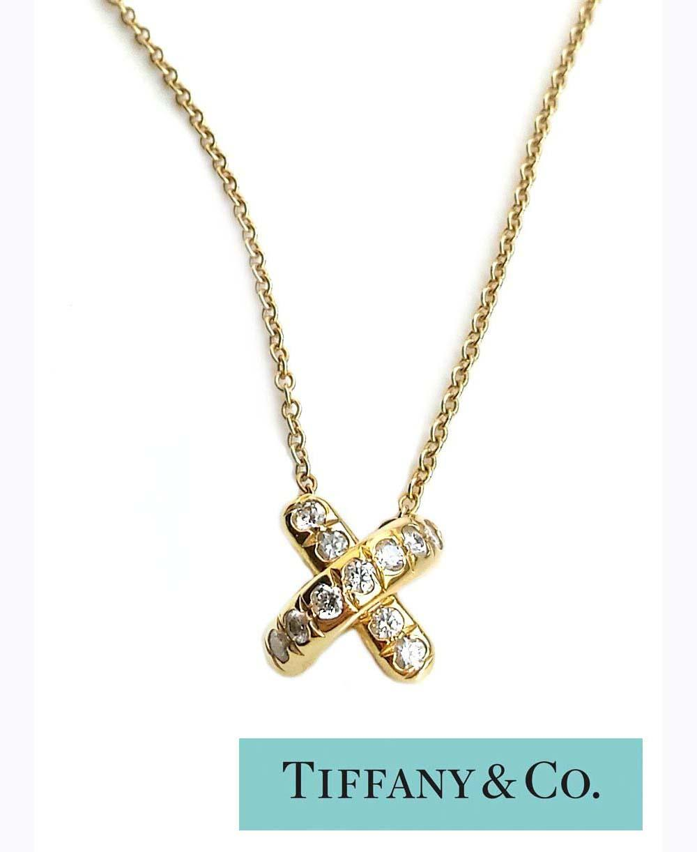 18K GOLD TIFFANY DIAMOND SIGNATURE 'X' PENDANT NECKLACE