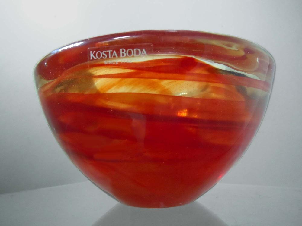 CRANBERRY RED SWIRL KOSTA BODA SWEDISH ART GLASS BOWL