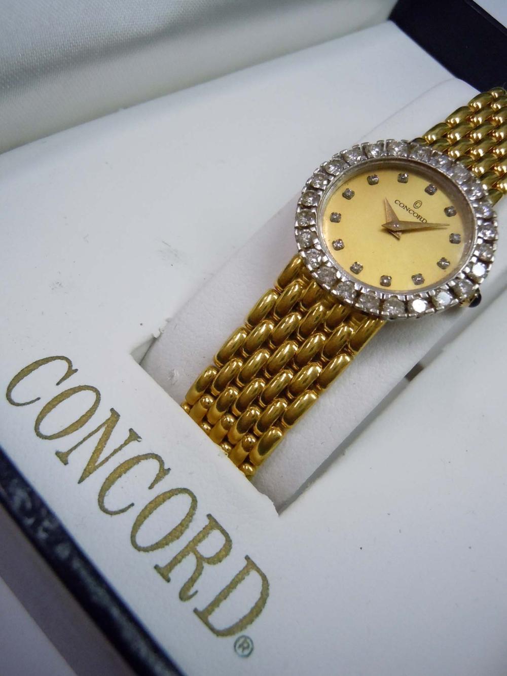 LADIES CONCORD 14Kt GOLD 1.25Ct CHAMPAGNE DIAMOND DIAL w Box