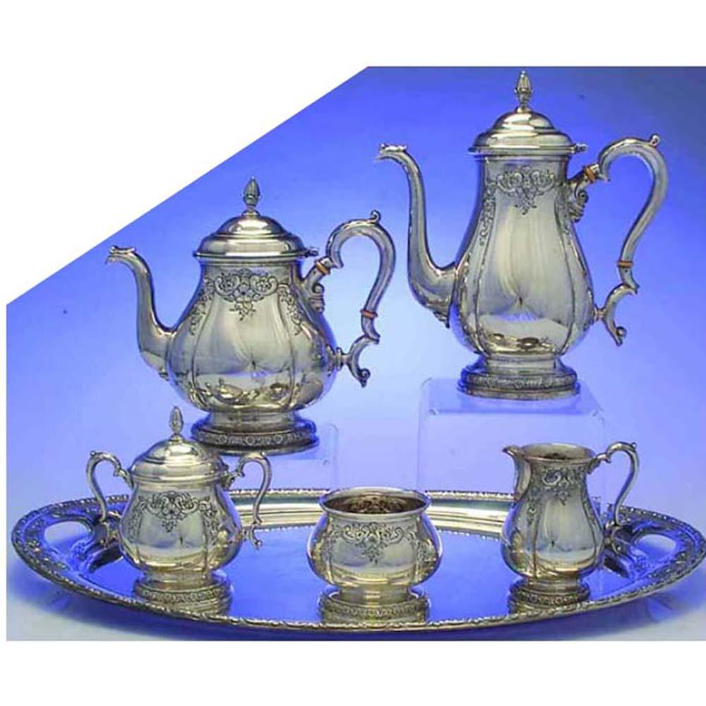 TEA SET PRELUDE CHASED by INTERNATIONAL STERLING SILVER