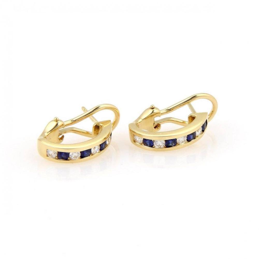 TIFFANY 18K GOLD DIAMOND & SAPPHIRE HUGGIE EARRINGS