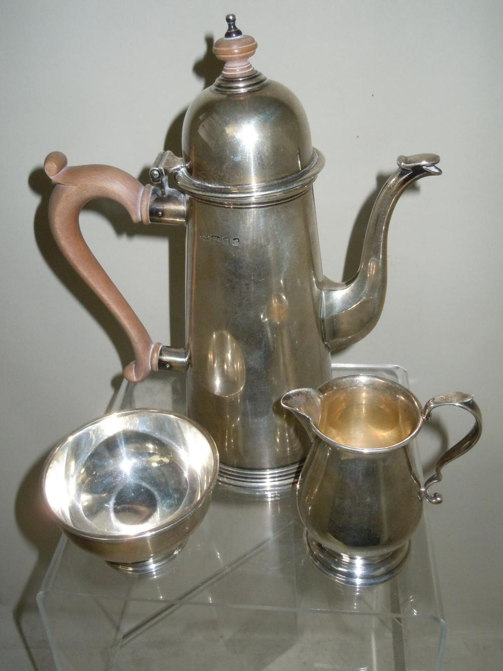 TIFFANY & CO LIGHTHOUSE SILVER COFFEE POT SUGAR CREAMER TEA SET