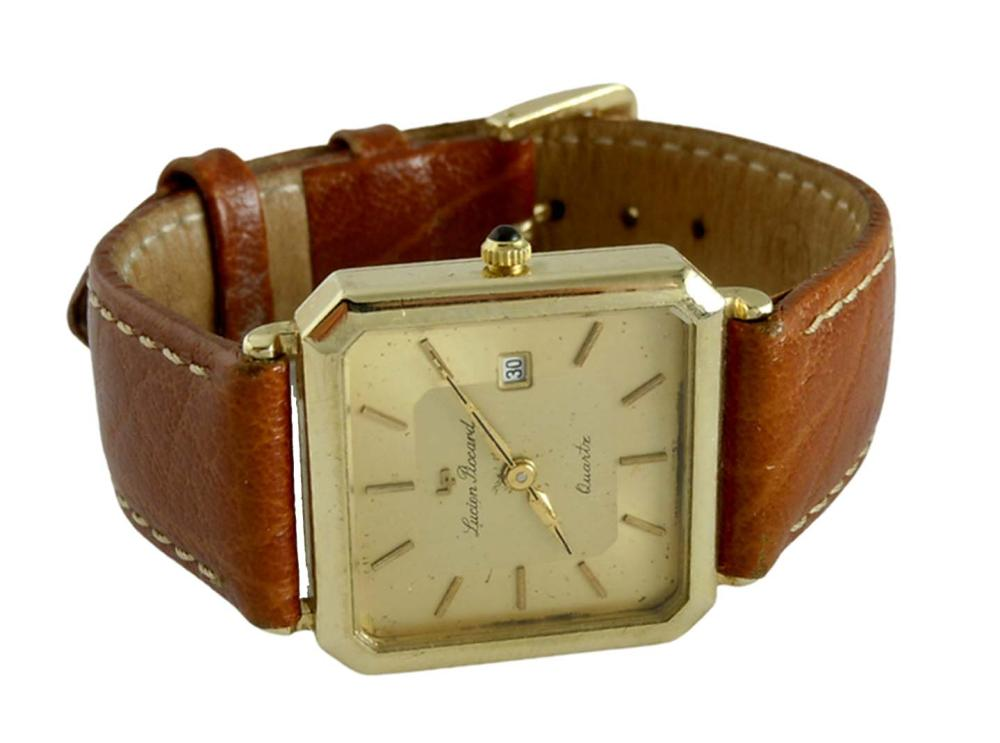 TRIPLE SIGNED LUCIEN PICCARD 14K GOLD SWISS DATE WATCH