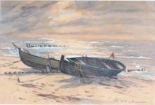Erich Freiherr von Perfall (1882-1961) Boote am Strand, boats at the beach,