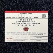 An Authentic Bruce Lee Red Striped Jun Fan Gung Fu Card