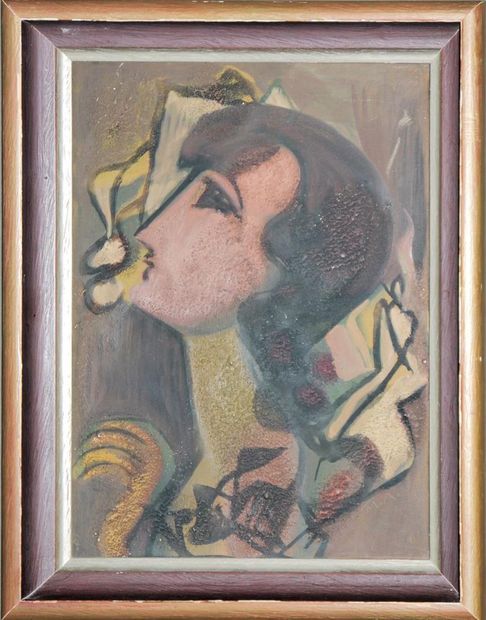"""Max Ackermann, """"Kopf"""", Ölgemälde von 1941, gerahmt"""