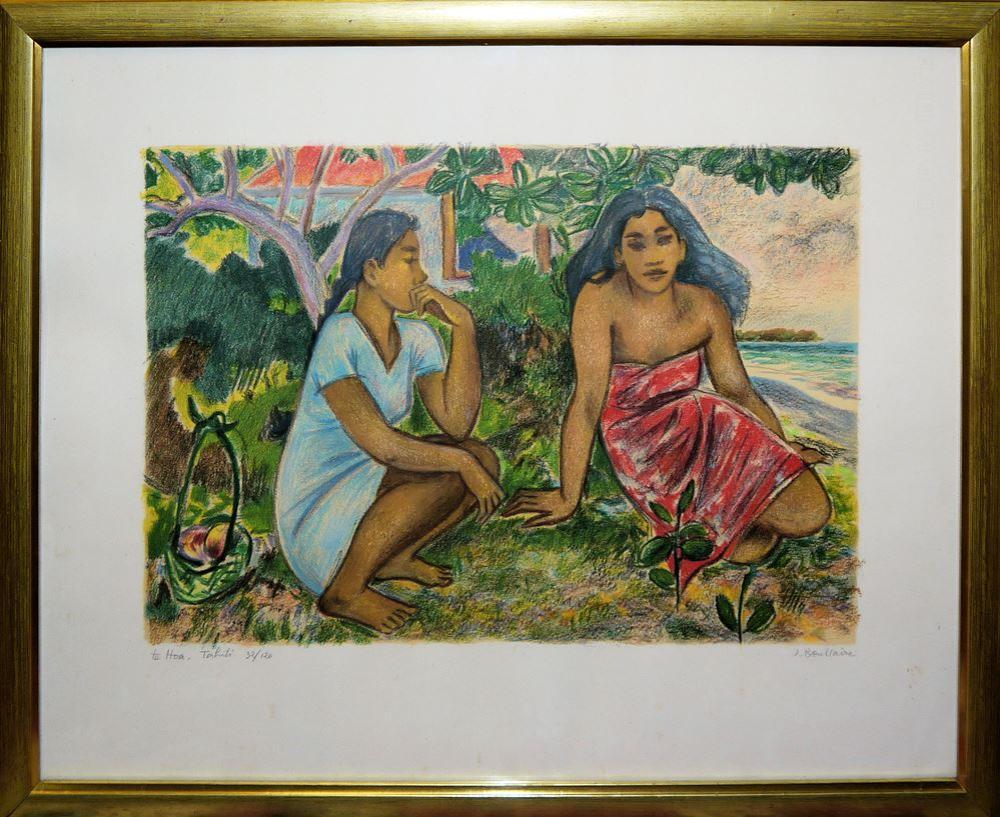 "Jacques Boullaire, ""Te Hoa, Tahiti"", Farblithographie, gerahmt"