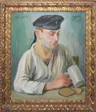 """Adolf Hacker, """"bei Wasser u. Brot"""", Bildnis eines Marinesoldaten, signiertes Ölgemälde von 1916, im originalen Jugendstilrahmen"""