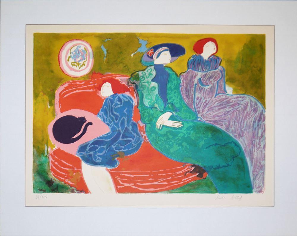 "Linda le Kinff, ""Im Salon"", große Farblithographie, sign."