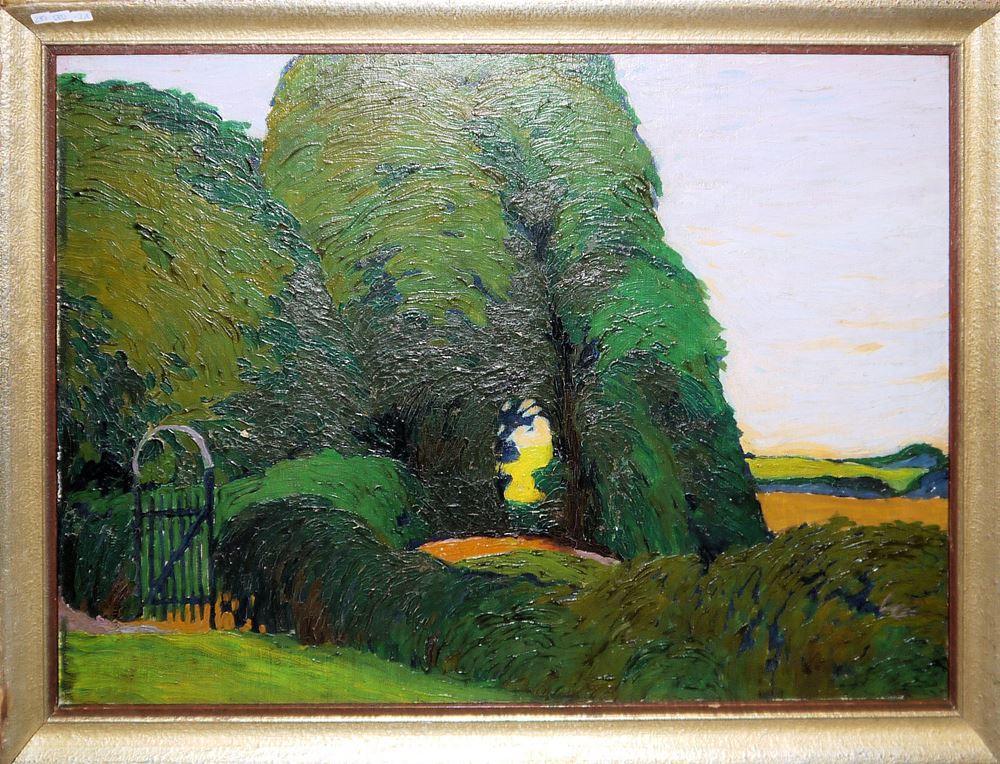 """Maximilian Klewer, """"Gartentor an der Villa Foresta in Barmen"""", Ölgemälde von 1910, Originalrahmung"""