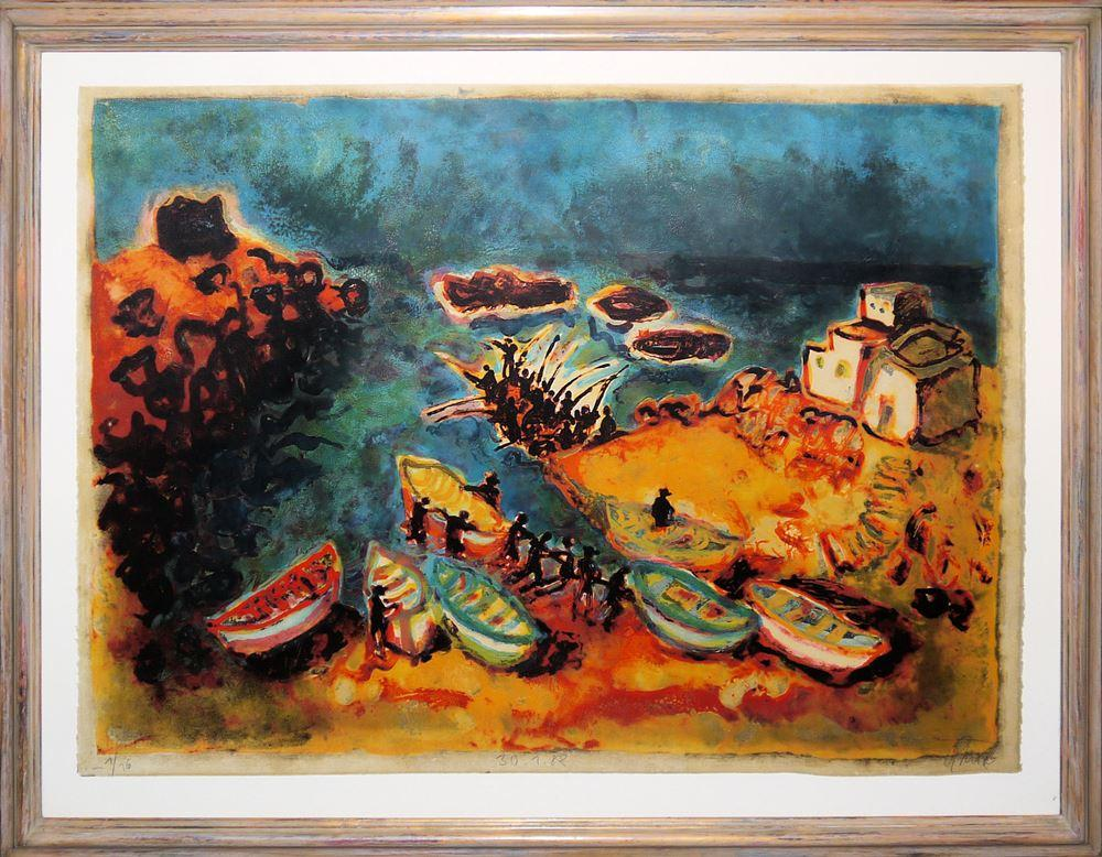 Christian Kruck, Fuerteventura, großformatige Farblithographie von 1982, aufwändig galeriegerahmt