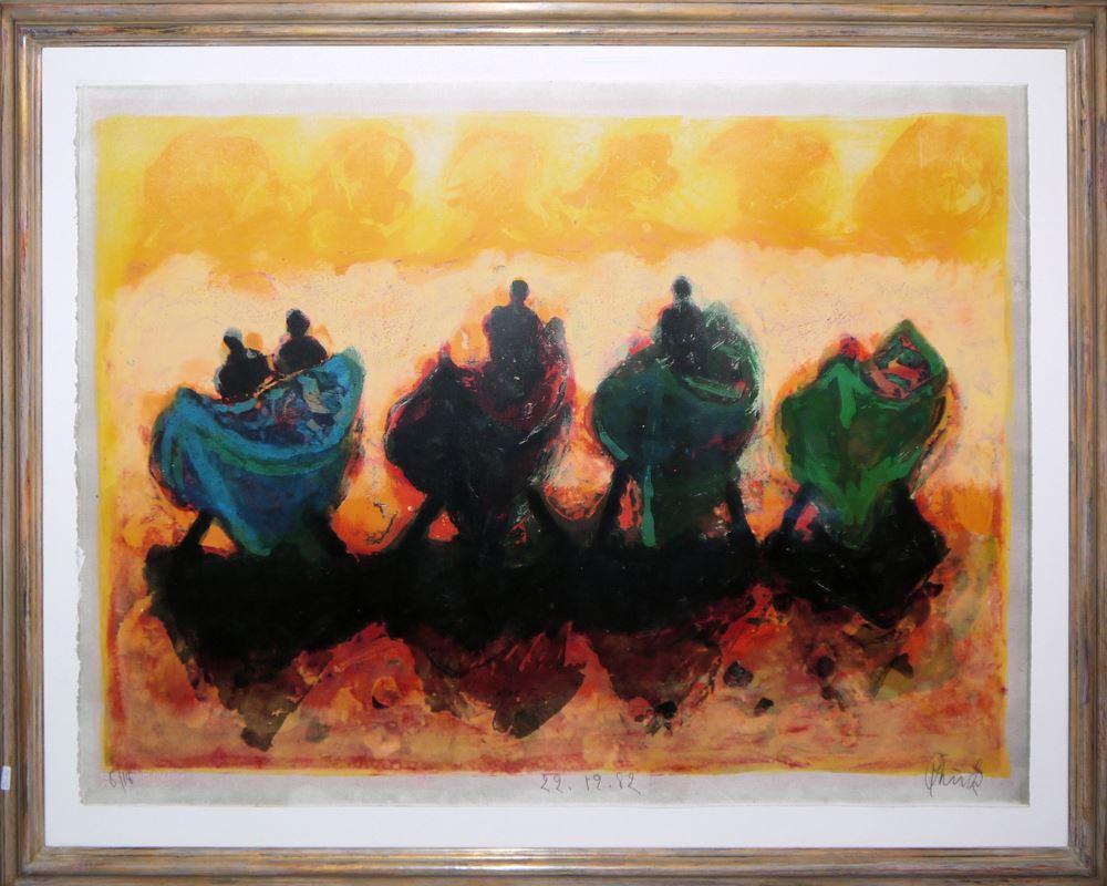 """Christian Kruck, """"Fischerboote im Gegenlicht"""", großformatige Farblithographie von 1982, aufwändig galeriegerahmt"""
