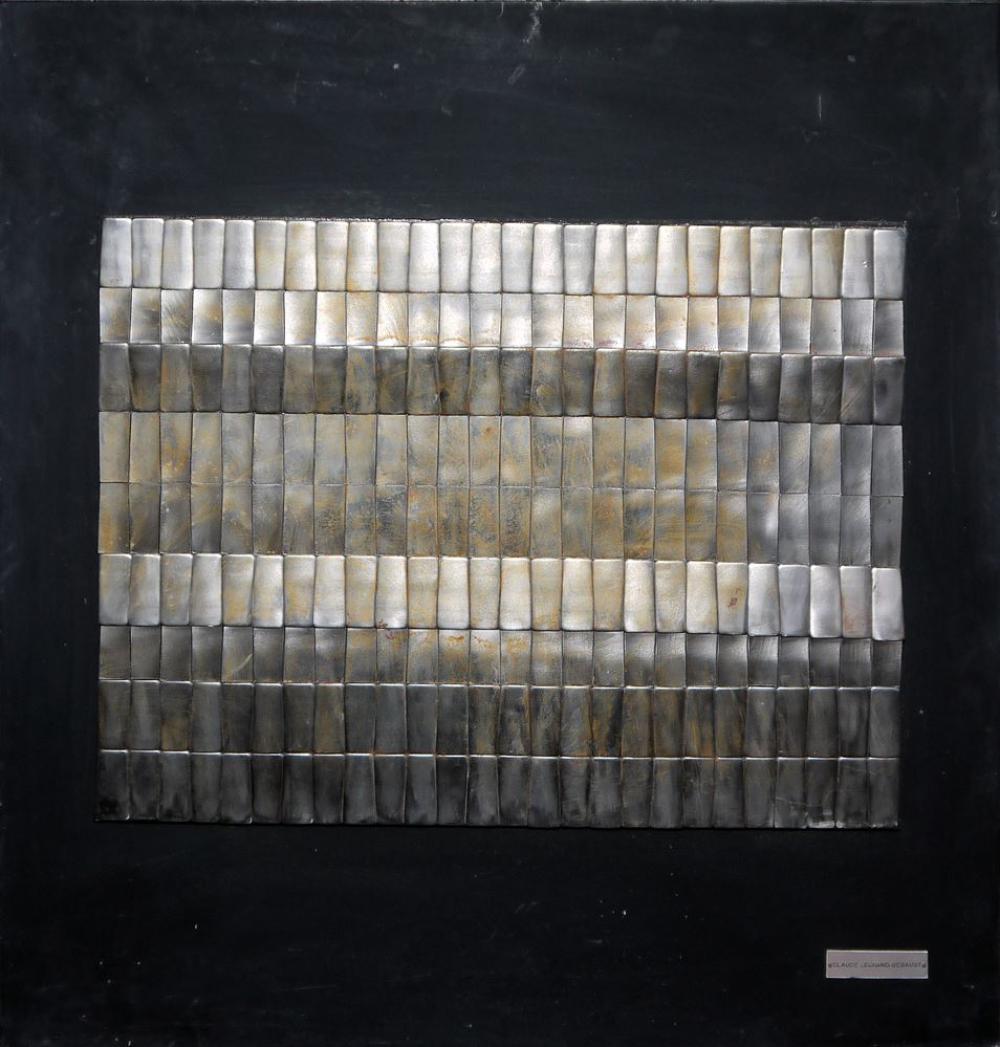 "Claude Legrand-Segaust, ""Concave"", Wandplastik Metall/Holz, von 1974"
