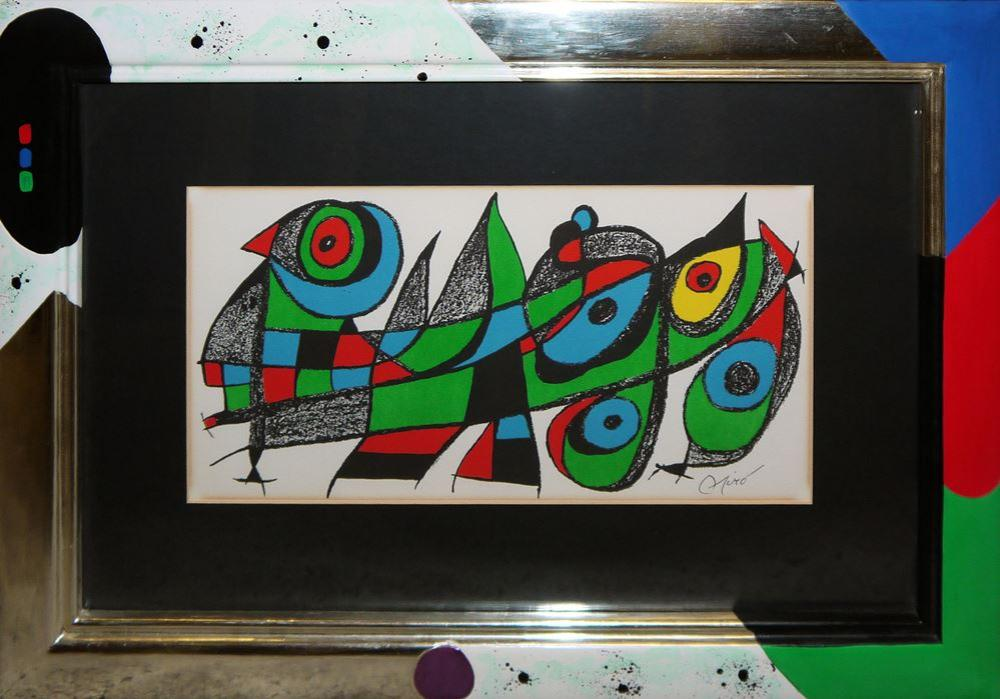 """Joan Miro, """"Japan"""" für den Band """"Miro Sculpteur"""", Farblithographie von 1974, im Künstler-Unikatrahmen"""