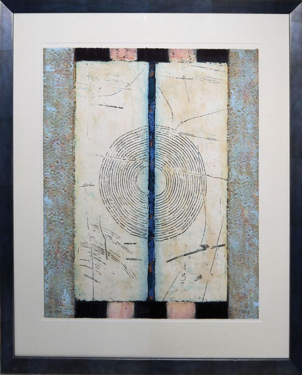 """Eckart Schädrich, Abstrakte Kompositionen aus der Reihe """"Symit"""", 2 signierte Carborundum von 2000, gerahmt"""