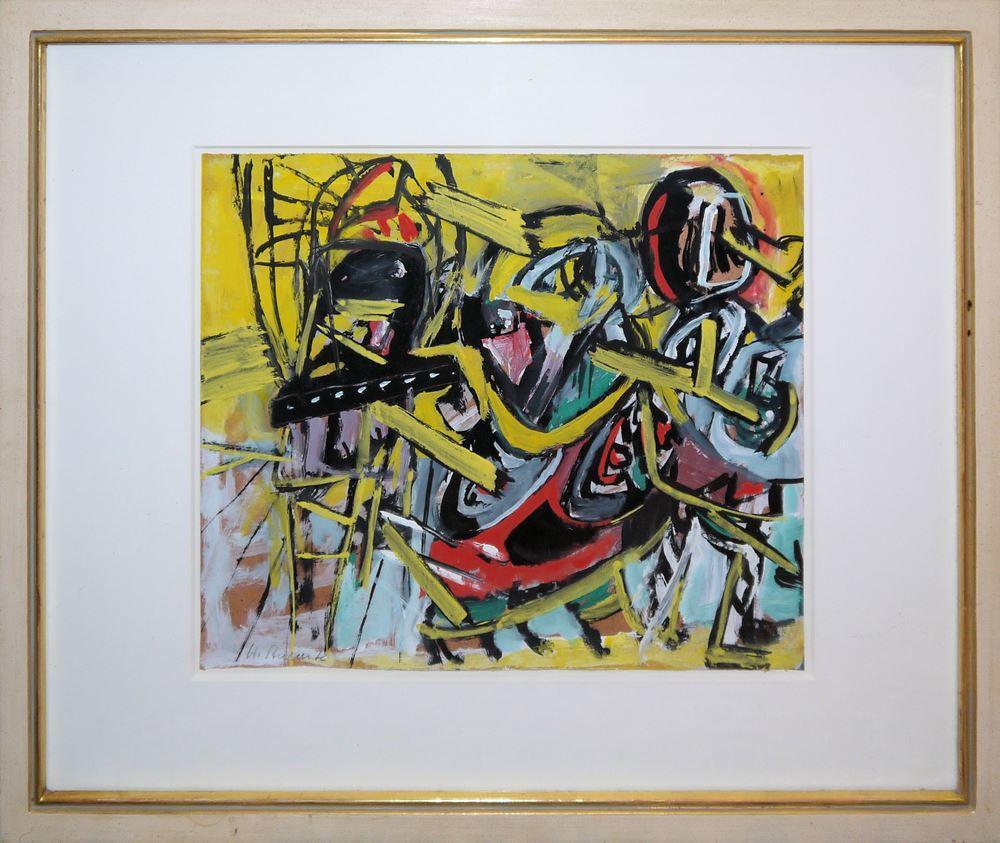 Helmut Sturm, Gestisch-informelle Komposition, Acrylgemälde von (19)72, aus der Sammlung Gretel Marinotti, Mailand, Unikatrahmen