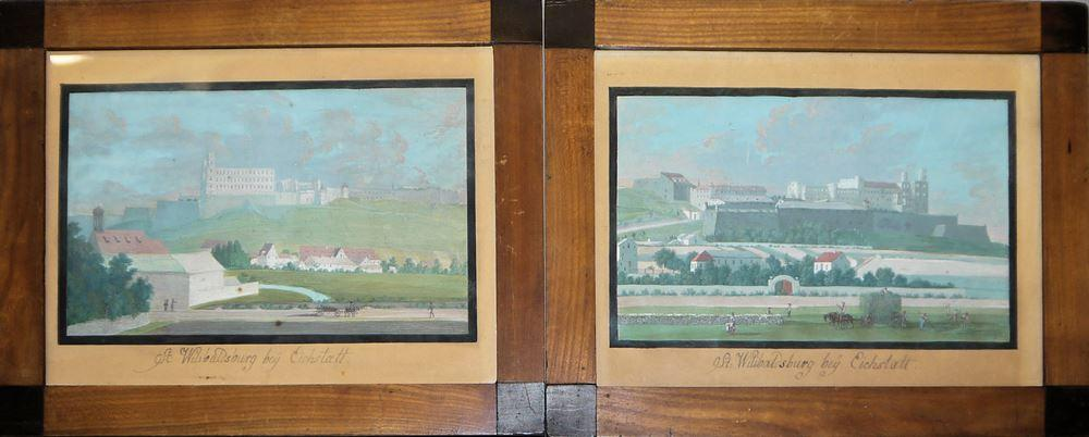 "Biedermeier-Landschaftsmaler, ""St. Wilibaldsburg bey Eichtätt"", 2 Gouachen des frühen 19. Jh., gerahmt"