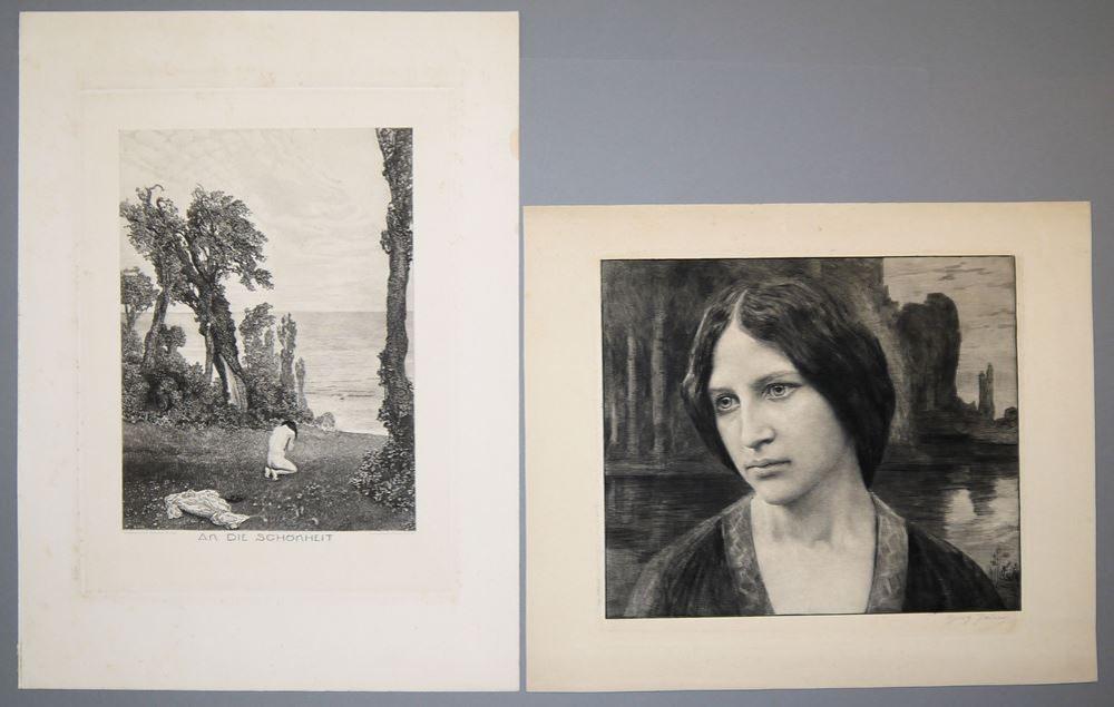 """Georg Jahn, """"Melancholie"""", Radierung von 1905 & Max Klinger, """"An die Schönheit"""", Kupfer nach Radierung von 1898"""