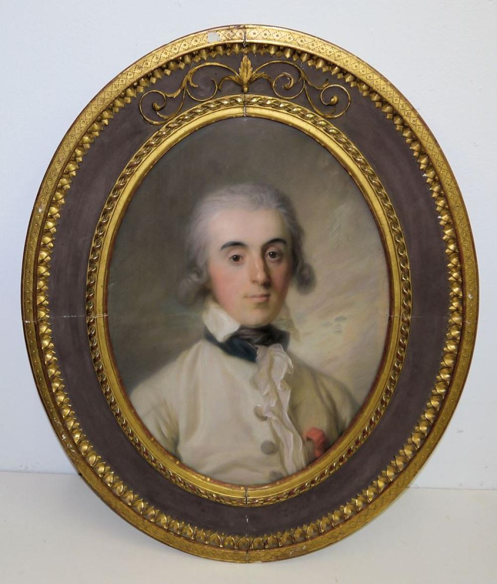 Henriette Schneider, zwei Portraits eines Paars des Rokoko, Gegenstücke, Pastelle, in Originalrahmung