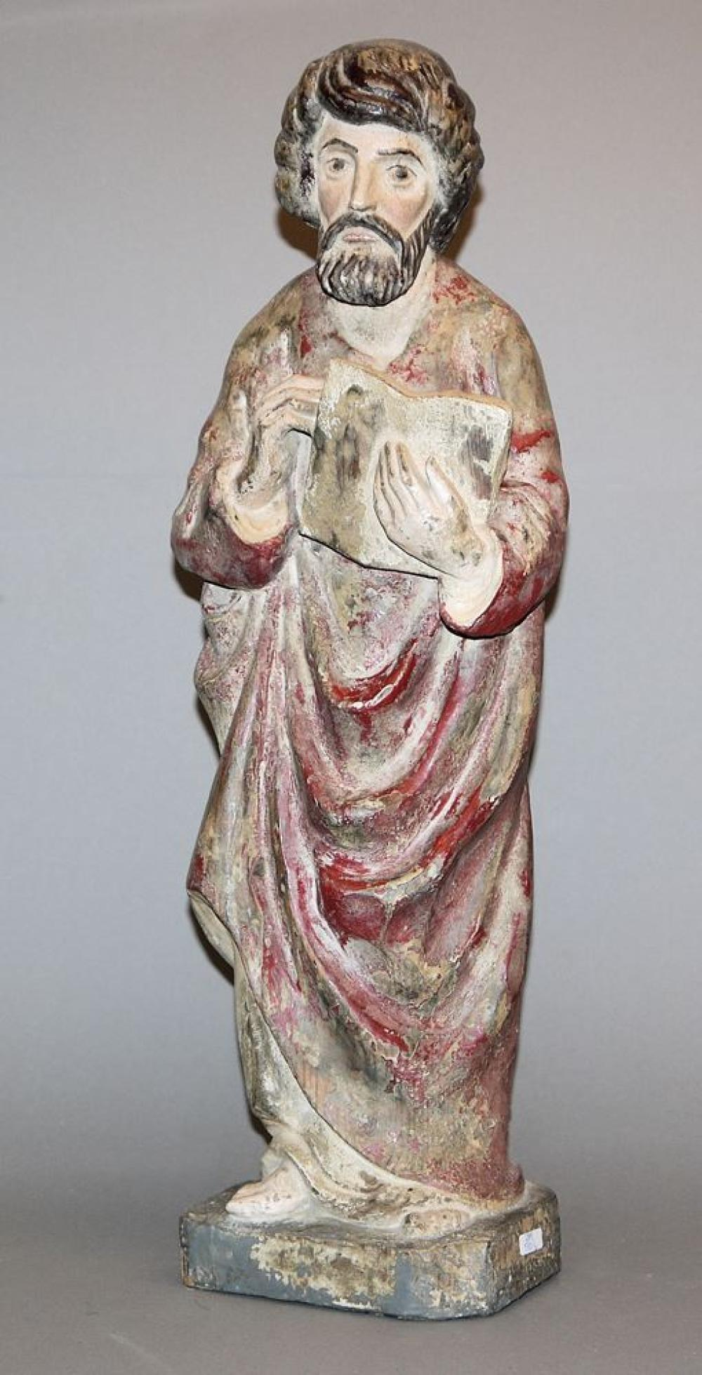 Holzskulptur Evangelist um 1800