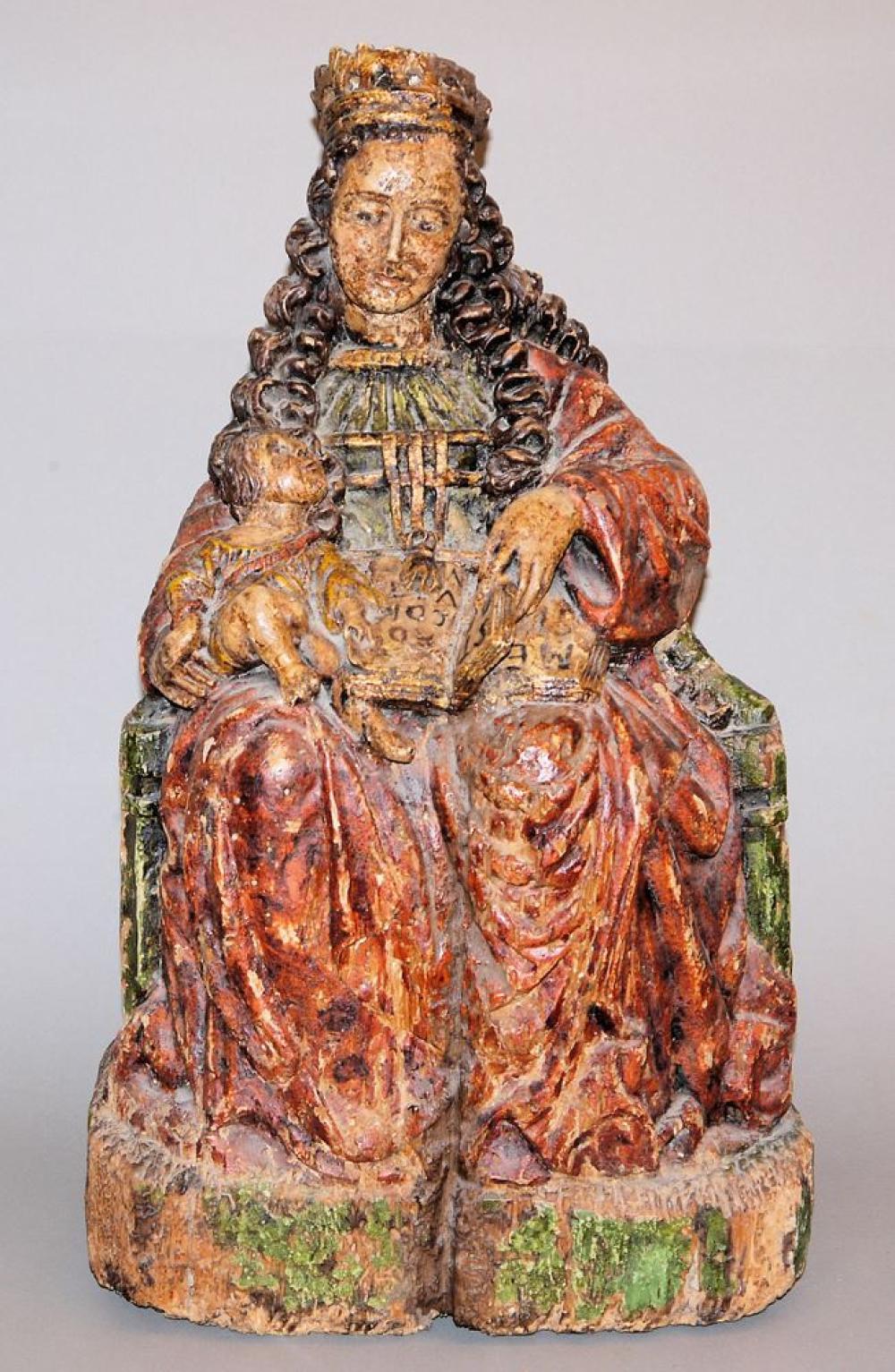 Holzgruppe thronende Madonna mit Kind und Bibel, wohl Österreich-Ungarn um 1800