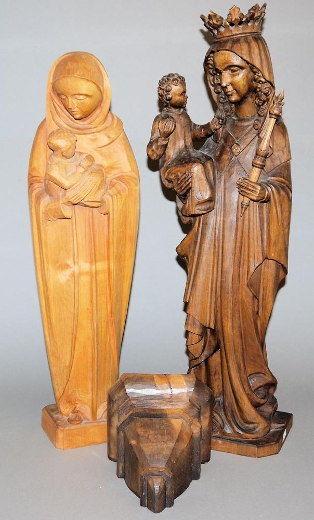 Zwei Holzskulpturen Madonnen, Monogrammist F.D. um 1920
