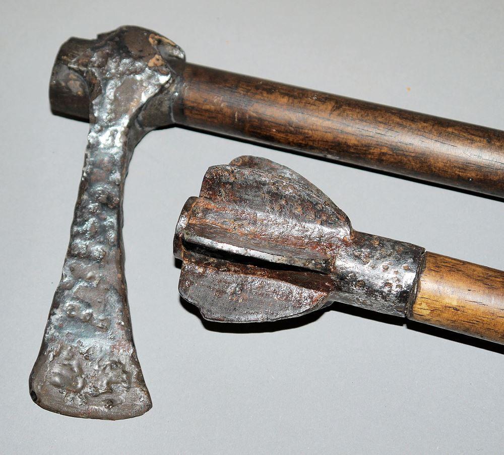 Medieval mace and Roman hatchet