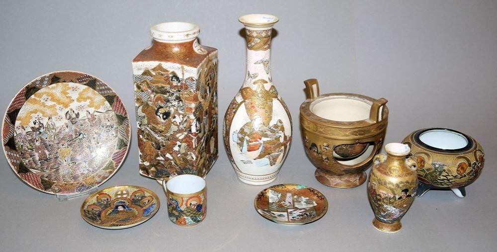 14 Satsuma-Keramiken der Meiji- und Taisho-Zeiten, Japan, Anfang 20. Jh.