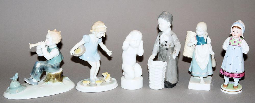 Sammlungsnachlass; Sechs Porzellanplastiken Kinder, Bing & Gröndahl, Metzler & Ortloff, Wilhelm Goebel sowie Heubach ab 1900