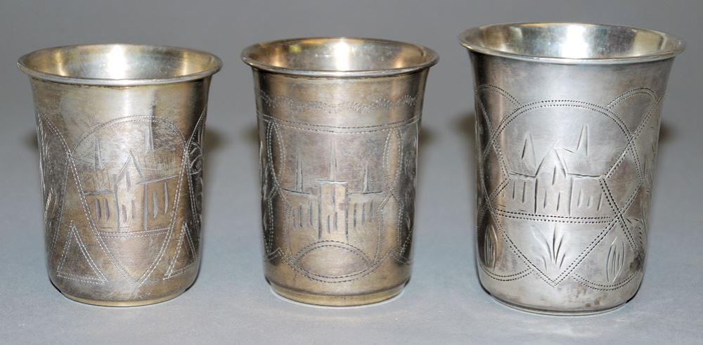 Judaica: Drei silberne Kidduschbecher, Kiev, Ukraine nach 1908