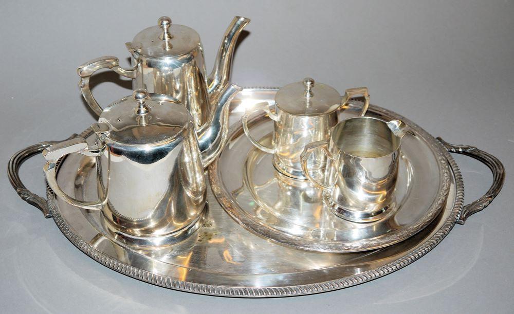 Tee- und Kaffeekern Bombay, großes Tablett, WMF & runder Teller, Krupp Berndorf, versilbert