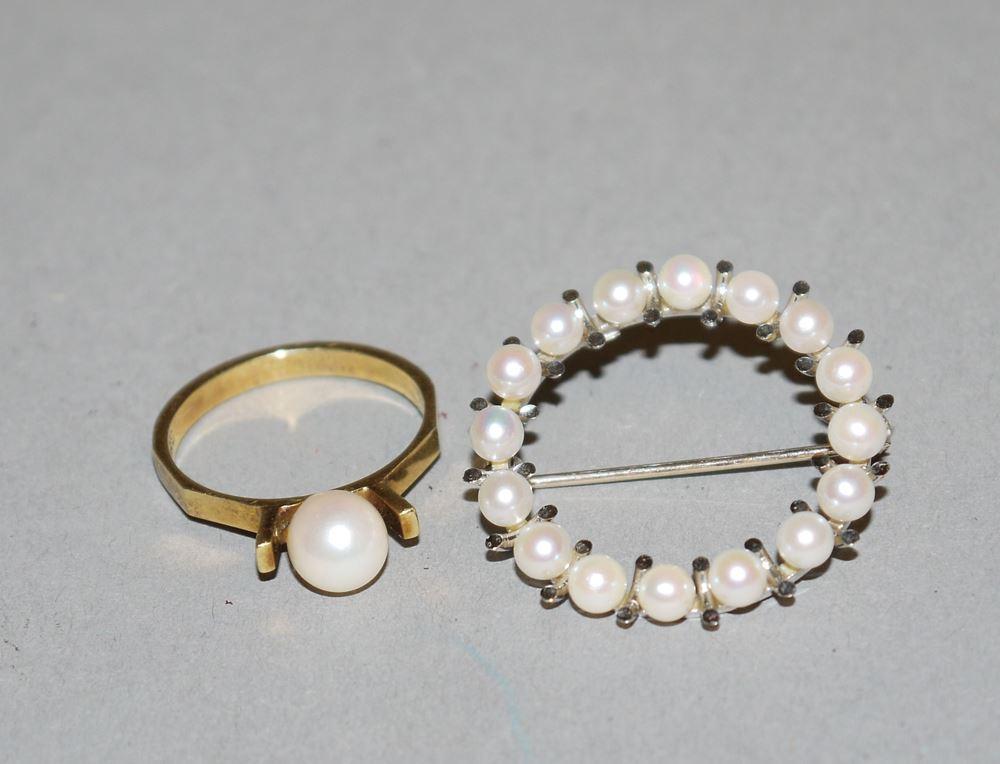 Perlring und Perlen-Brosche, Gold, 1960/70er Jahre