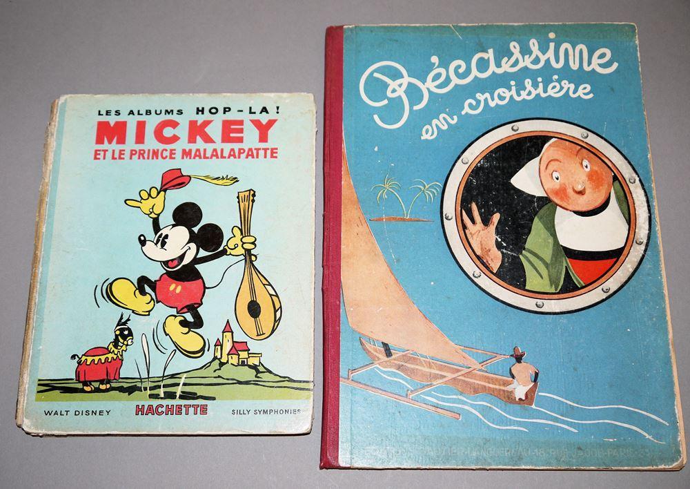 2 französische Kinderbücher: Mickey et le Prince Mallalapatte & Bécasinne en croisière, beide 1935