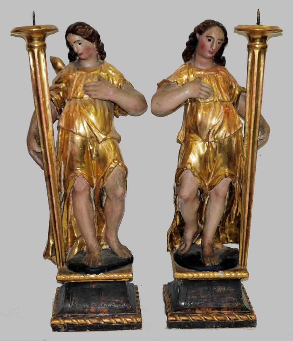 Paar figürliche Leuchter, Fackel haltende Engel, Holz, spätes 18. Jh. / um 1800